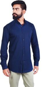 Wild Hunk Men's Solid Casual Dark Blue Shirt