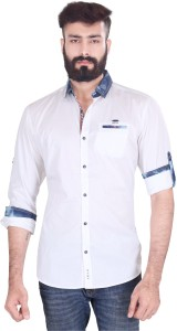 Vintage Soul Men's Solid Casual White Shirt