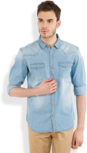 Highlander Men's Solid Casual Blue Shirt