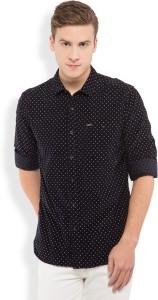 Locomotive Men's Printed Casual Dark Blue Shirt