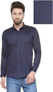 Being Fab Men's Printed Casual Dark Blue Shirt