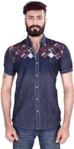 Vintage Soul Men's Printed Casual Blue Shirt