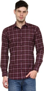 Being Fab Men's Checkered Casual Maroon Shirt