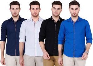 Ojass Men's Solid Casual Blue, Black, White, Dark Blue Shirt