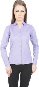 Protzen Women's Polka Print Formal Purple Shirt