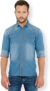 Highlander Men's Solid Casual Denim Blue Shirt