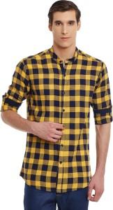 Wild Hunk Men's Checkered Casual Yellow Shirt