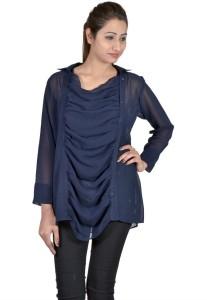 c43bdec27147 Indicot Women s Solid Casual Dark Blue Shirt Best Price in India ...