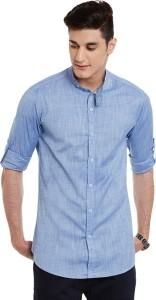 Wild Hunk Men's Solid Casual Light Blue Shirt