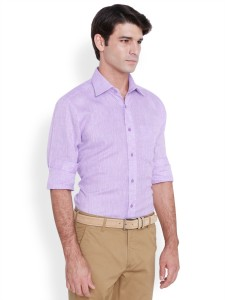 Raymond Men S Solid Formal Linen Purple Shirt Best Price In India