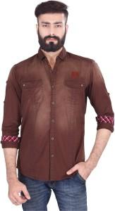 Vintage Soul Men's Self Design Casual Brown Shirt