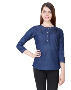 YASMIN CREATIONS Women's Solid Casual Denim Dark Blue Shirt