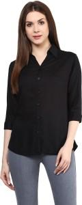 Mayra Women's Solid Party Black Shirt
