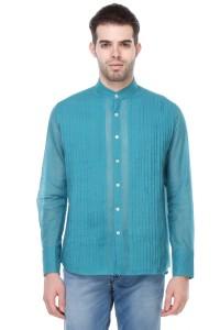 Reevolution Men's Solid Casual Blue Shirt