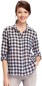 Gsa Enterprises Women's Checkered Casual White Shirt