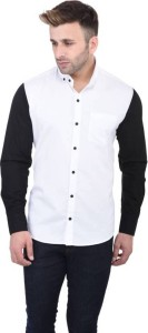FastColors Men's Solid Casual White, Black Shirt