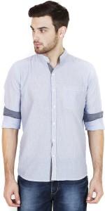 Chalk Factory Men's Striped Casual Blue Shirt