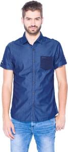 Mufti Men's Solid Casual Dark Blue Shirt