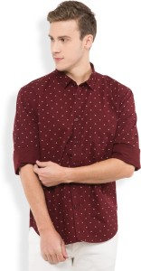 Highlander Men's Printed Casual Maroon Shirt
