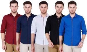 Ojass Men's Solid Casual Blue, Black, White, Dark Blue, Maroon Shirt