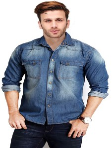 Lee//Marc Men's Solid Casual Denim Blue Shirt