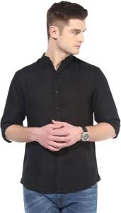 Elepants Men's Solid Casual Linen Black Shirt