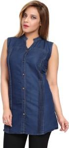 ALC Creations Women's Solid Casual Denim Blue Shirt