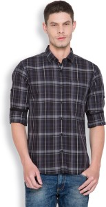 Highlander Men's Checkered Casual Black, Grey Shirt