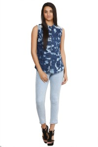 Glitterss Women's Printed Casual Denim Blue, White Shirt