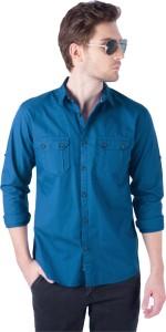 Rodid Men's Solid Casual Blue Shirt