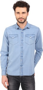 Bombay Casual Jeans Men's Solid Casual Denim Light Blue Shirt