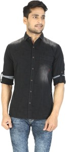 Stay Tuned Men's Solid Casual Denim Black Shirt