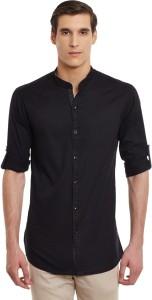 Wild Hunk Men's Solid Casual Black Shirt