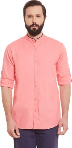 Wild Hunk Men's Solid Casual Pink Shirt