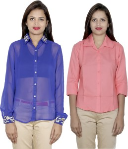 IndiStar Women's Embroidered, Solid Formal Blue, Orange Shirt