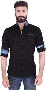 Vintage Soul Men's Solid Casual Black Shirt