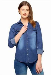 adelina Women's Self Design Casual Denim Blue Shirt