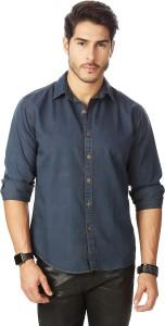Rodid Men's Solid Casual Denim Grey Shirt