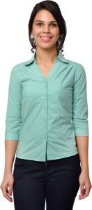 Trend Casuals & Formals Women's Solid Formal Green Shirt