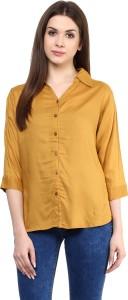 Mayra Women's Solid Party Yellow Shirt