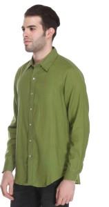 Reevolution Men's Solid Casual Green Shirt