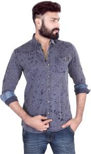 Vintage Soul Men's Self Design Casual Purple Shirt