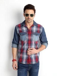 Rodid Men's Checkered Casual Denim Multicolor Shirt