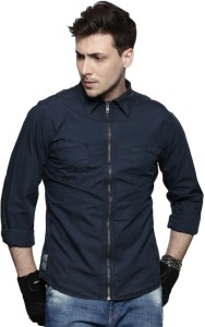 4154d0fb84256 Roadster Men s Solid Casual Dark Blue Shirt Best Price in India ...