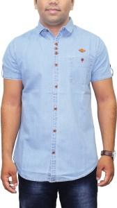 Kuons Avenue Men's Solid Casual Denim Light Blue, Blue Shirt