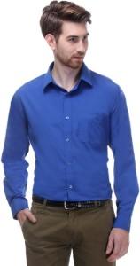Hancock Men's Solid Formal Blue Shirt