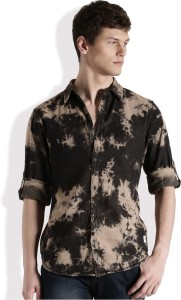Roadster Men's Solid Casual Black, Beige Shirt
