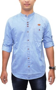 Kuons Avenue Men's Solid Casual Denim Blue, Light Blue Shirt