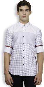 Locomotive Men's Printed Casual White, Dark Blue Shirt