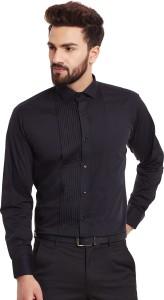 Hancock Men's Solid Formal Black Shirt